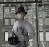 błękitny kołnierza fabryczny przemysłowej pracy retro pracownik Obraz Stock