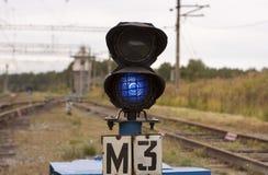 Błękitny kolejowy semafor Obrazy Royalty Free