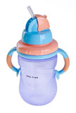 Błękitny koloru dziecka butelka na tle royalty ilustracja