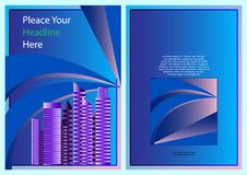 Błękitny koloru plan z miasta tła książkowej pokrywy projekta biznesowym szablonem, broszurka, broszura, sztandar, plakat ilustracja wektor
