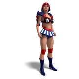 błękitny komicznego żeńskiego bohatera stroju czerwony biel ilustracja wektor