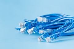 Błękitny komputerowy etherneta kabel na błękitnym tle Zdjęcia Stock