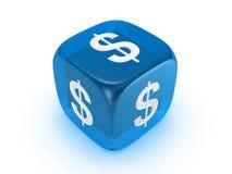 błękitny kostka do gry dolarowy znak półprzezroczysty Fotografia Stock