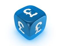 błękitny kostka do gry funta znak półprzezroczysty Obrazy Stock