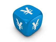 błękitny kostka do gry szyldowy jen Fotografia Royalty Free