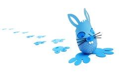 błękitny królika Easter jajka ślada Fotografia Royalty Free