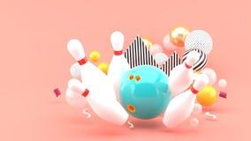 Błękitny kręgle Wśród kolorowych piłek na różowym tle zdjęcia stock