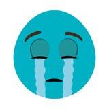 błękitny kreskówki twarzy płacz, grafika ilustracji