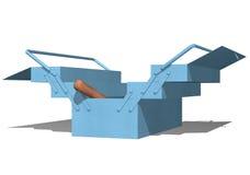 błękitny kruszcowy otwarty toolbox Zdjęcie Stock