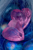 błękitny krystaliczna szkieł serca menchia kształtuje dwa Zdjęcie Stock