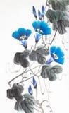 Błękitny kwiat ranek chwała ilustracja wektor