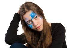 Błękitny kwiecistego ornamentu twarzy obraz Fotografia Stock