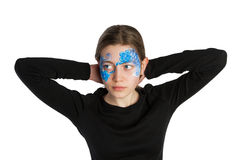 Błękitny kwiecistego ornamentu twarzy obraz Obrazy Royalty Free