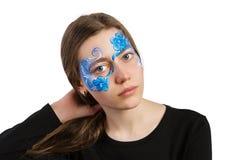 Błękitny kwiecistego ornamentu twarzy obraz Obrazy Stock