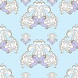 Błękitny kwiecisty deseniowy purpurowy bezszwowy również zwrócić corel ilustracji wektora Fotografia Stock