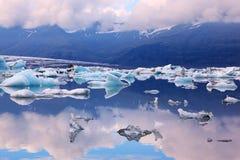 Błękitny laguna lodu YÑ ` kyulsaurloun Obrazy Royalty Free