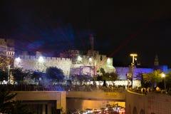 Błękitny laseru przedstawienie przy Jerozolima światła festiwalem fotografia royalty free