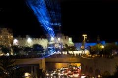 Błękitny laseru przedstawienie przy Jerozolima światła festiwalem fotografia stock