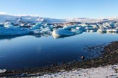 Błękitny lodowa lód, góra lodowa, Jokulsarlon laguna, Iceland Obrazy Stock
