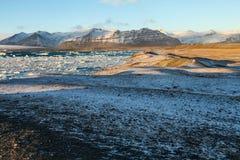 Błękitny lodowa lód, góra lodowa, Jokulsarlon laguna, Iceland Fotografia Stock