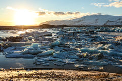 Błękitny lodowa lód, góra lodowa, Jokulsarlon laguna, Iceland Fotografia Royalty Free