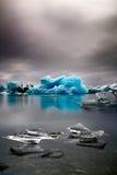 Błękitny lodowa lód topi Iceland globalnego nagrzanie Obraz Royalty Free