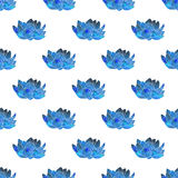 Błękitny lotos Bezszwowy wzór z pozaziemskim lub galaxy Obrazy Stock