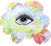 Błękitny ludzki oko maluje w akwareli na tle Obraz Stock