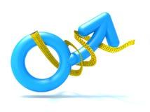 Błękitny mężczyzna symbol z taśmy miarą, royalty ilustracja