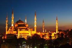 Błękitny meczet w Istanbuł, z zmierzchem fotografia stock