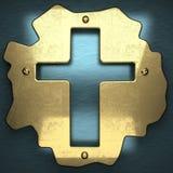 Błękitny metalu tło z żółtym elementem Zdjęcie Royalty Free