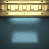 Błękitny metalu tło z żółtym elementem Fotografia Stock