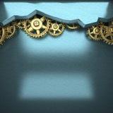 Błękitny metalu tło z cogwheel przekładniami Zdjęcia Royalty Free