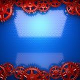 Błękitny metalu tło z czerwonymi cogwheel przekładniami Obraz Royalty Free