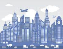 Błękitny miasto (tło) ilustracji