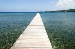 błękitny mola denny słońce drewniany Zdjęcie Stock