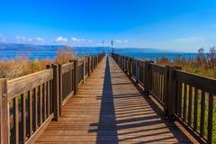 błękitny mola denny słońce drewniany Fotografia Royalty Free