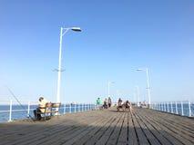 błękitny mola denny słońce drewniany zdjęcia stock