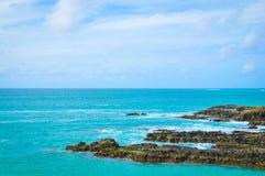 Błękitny morze krajobraz w przylądku Verde, Afryka Obrazy Stock