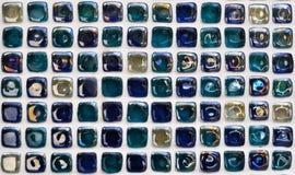 błękitny mozaiki płytki ściana Obraz Stock
