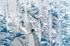 Błękitny Mroźny szkło lodu tło, Naturalny Piękny mrozu lodu wzór Fotografia Stock
