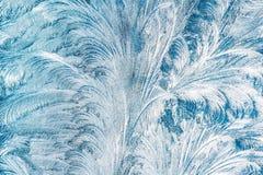Błękitny Mroźny szkło lodu tło, Naturalny Piękny mrozu lodu wzór Obraz Stock