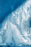 Błękitny Mroźny szkło lodu tło, Naturalny Piękny mrozu lodu wzór Zdjęcia Stock