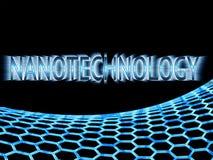 Błękitny nanotechnologiego tekst w promieni światłach i błękitny graphene structu Fotografia Royalty Free
