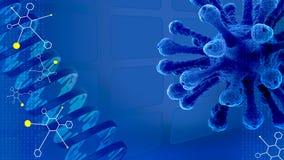 Błękitny naukowy prezentaci tło z molekułami, DNA, vi Fotografia Royalty Free