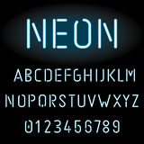 Błękitny neonowego światła abecadło Obrazy Royalty Free