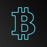 Błękitny neonowy bitcoin symbol odizolowywający na czarnym tle Zdjęcia Stock