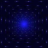 Błękitny neonowy laserowy perspektywiczny tunel Zdjęcie Royalty Free