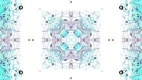 Błękitny niski poli- geometryczny abstrakcjonistyczny tło jako poruszający kalejdoskop w 4k lub witraż Pętli 3d animacja, bezszwo zbiory wideo