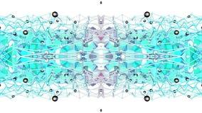 Błękitny niski poli- geometryczny abstrakcjonistyczny tło jako poruszający kalejdoskop w 4k lub witraż Pętli 3d animacja, bezszwo zbiory